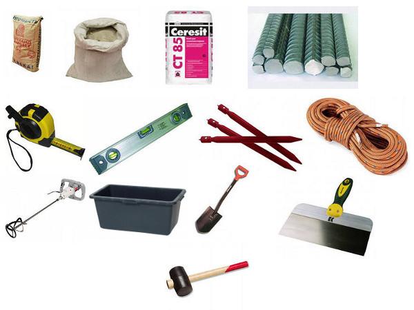 Инструмент и материалы для укладки дорожек