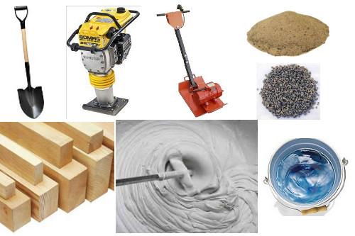 Инструменты и материалы для укладки тротуарной плитки