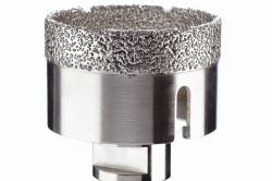 Алмазное покрытие коронки значительно продлевает срок эксплуатации при работе с самой твердой плиткой.