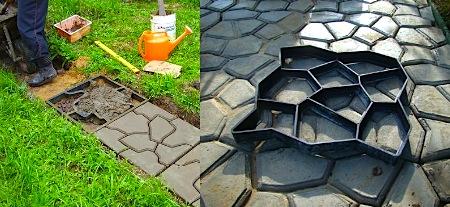 Наличие «дыхания» почвы под плитами, которое регулирует баланс экологии всей территории, - одно из преимуществ самодельной плитки