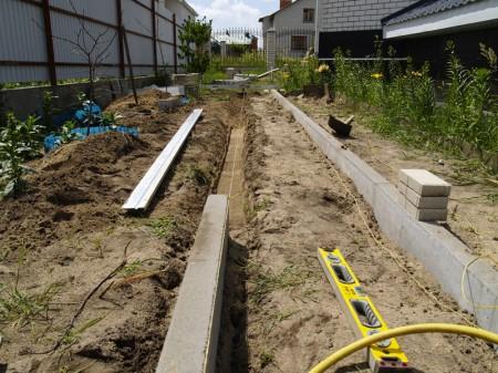 Установка бордюрного камня для садовой дорожки