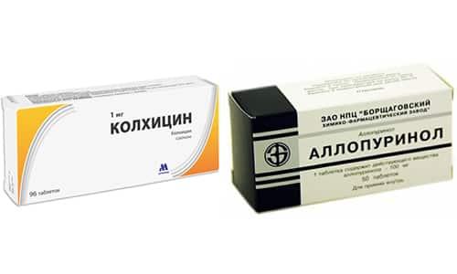 Люди страдающие подагрой принимают Колхицин и Аллопуринол - для снижения мочевой кислоты