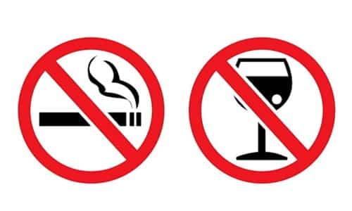 На время лечения необходимо отказаться от курения и употребления алкоголя