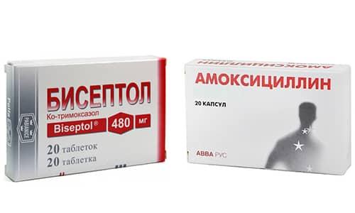 При бактериальных поражениях внутренних органов и мягких тканей применяют Амоксициллин и Бисептол