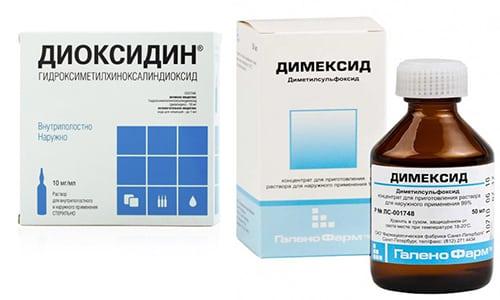 Комбинацию лекарственных средств Диоксидин и Димексид часто назначают при тяжелых поражениях кожного покрова