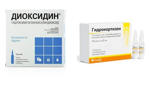 Антибактериальные препараты Диоксидин и Гидрокортизон применяются для лечения многих патологий инфекционного происхождения