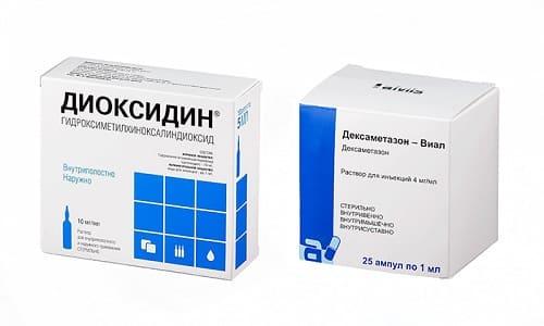 Для лечения насморка врач может выписать сложные капли, в состав которых входит Диоксидин и Дексаметазон