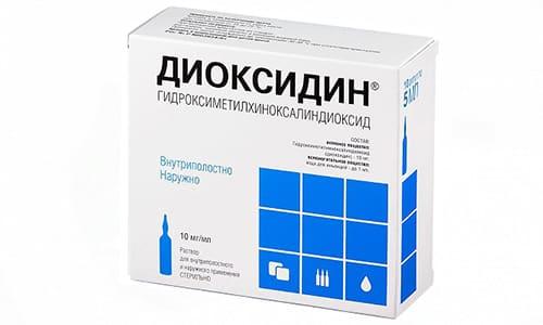 Схема лечения сложными каплями, в которые входит Диоксидин - по 1 капле 3 раза в день на протяжении 2 дней, потом по 2 капли 2 раза в день еще пару дней