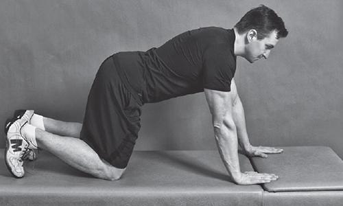 Одно из упражнений для спины включает ходьбу на четвереньках несколько минут. Спину держать ровно, руки не должны сгибаться