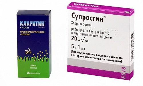 Аллергические реакции, проявляющиеся в виде высыпаний на кожном покрове, гиперемии и отечности можно устранить с помощью Кларитина или Супрастина