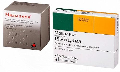 Чтобы снять воспалительный процесс и уменьшить болевой синдром при остеохондрозе прописывают сочетание таких лекарств, как Мовалис и Мильгамма