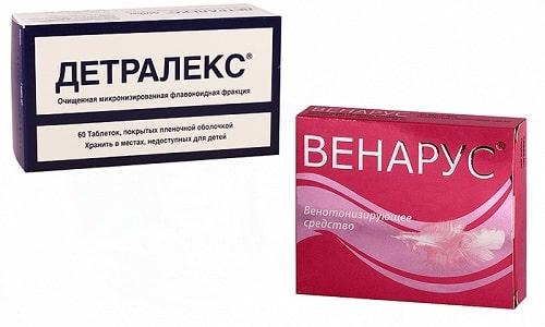 Фармацевтами разработаны лекарства Венарус и Детралекс, целью которых является укрепление венозных стенок и стабилизация микроциркуляции